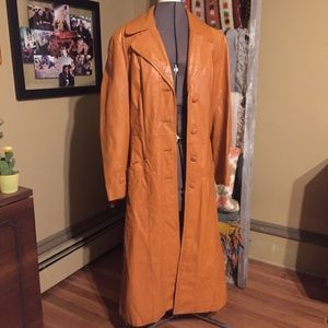 VTG 70s Leather Trench w/ Removable Lining